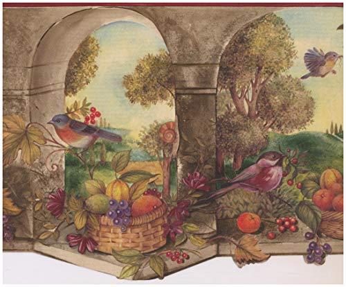 Prepasted Wallpaper Border - Bird Fruit Basket Country Wall Border Retro Design, Roll 15 ft. x 9 in.