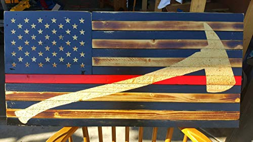 Olga212Patrick Thin Red Line Wood Flag Rustic Firefighter Hand Printed Stars Axe Stained Distressed Burned Graduation Academy Retirement Gift Wood Sign -