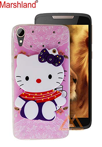 buy popular 6d752 4b32c Marshland Diamond Stones and Creative Soft Silicon Rubber 3D Cartoon Hello  Kitty with Makeup Mirror Back Cover for HTC Desire 828