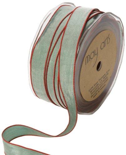 May Arts Ribbon (May Arts 5/8-Inch Wide Ribbon, Green and Red Iridescent)