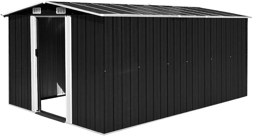 Tidyard Caseta de Jardín Exterior con 4 Ventilación para Almacenamiento de Herramientas de A Prueba de Polvo y Resistente a la Intemperie de Acero Galvanizado 257x398x178 cm Antracita: Amazon.es: Hogar