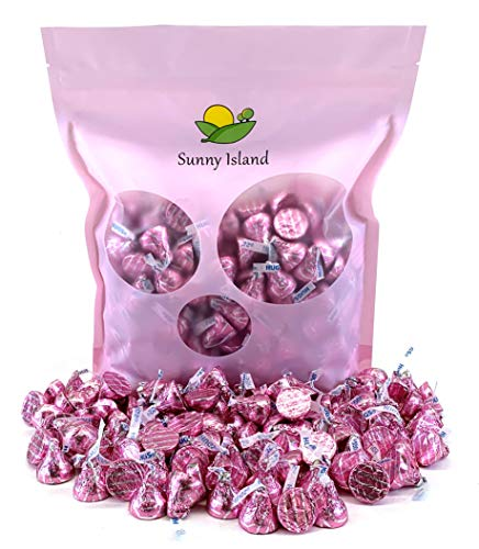 Sunny Island Bulk - Hershey's Kisses Hugs Pink Silver Striped Foils, White Creme Chocolate Candy, 2 Pounds Bag