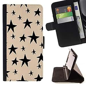 For Sony Xperia Z5 (5.2 Inch) / Xperia Z5 Dual (Not for Z5 Premium 5.5 Inch) Case , Hand Drawn Beige Noche Negro- la tarjeta de Crédito Slots PU Funda de cuero Monedero caso cubierta de piel