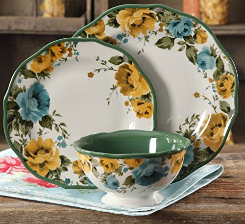 The Pioneer Woman Rose Shadow 12-Piece Dinnerware Set (4 Dinner Plates, 4 Salad Plates, 4 (Yellow Rose Dinner Plate)