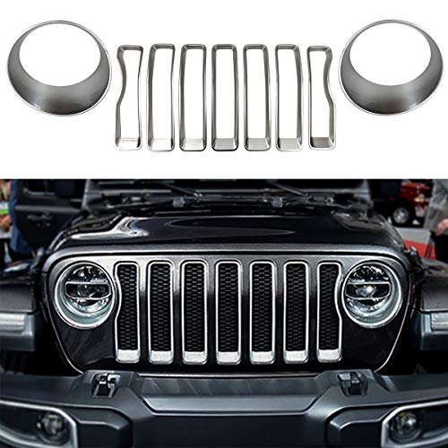 XBEEK Headlight and Front Grille Inserts Trim Cover for 2018 2019 Jeep Wrangler JL Sport/Sports - Silver