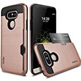 LG G5 Case,Profer [Heavy Duty][ Drop Protection] Dual Layer Armor Holster Defender Full Body Protective Hybrid Wallet Case Card Slots [Slim Fit]cover for LG G5(Rose Gold)