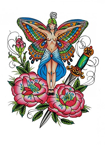 Waterproof and non toxic Halloween tattoo butterfly angel with rose and sword fake temp tattoo sticker