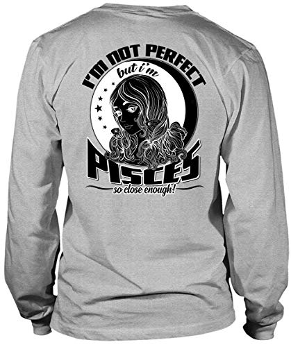 Father Shirt-I'm Pisces So Close Enough Long Sleeve Tees, I Love Pisces T Shirt-LongTee (L, Sport Grey) -