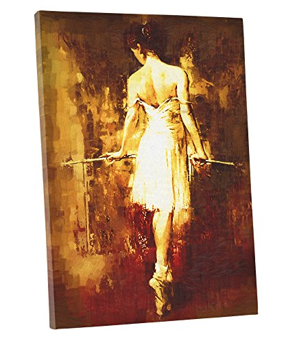 [Niwo ART (TM) - Girl Practising Ballet - Ballet Dancing Series. Modern Abstract Oil Painting Reproduction. Giclee Canvas Prints Wall Art for Home Decor, Stretched and Framed Ready to] (Couples Dance Costumes)