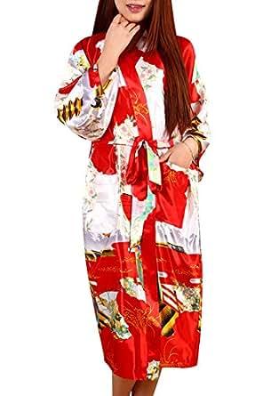 Dolamen Women's Dressing Gown Kimono, Silk Satin Geisha and Blossoms Robe Bathrobe Bridesmaid Nightwear Pyjamas, Long Style (XXX-Large, Red)