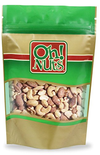Fresh Mixed Nuts Roasted Unsalted Cashews, Walnuts, Brazil Nuts, Hazelnuts, Almonds, (2 Pound Bag) - Oh! Nuts (Walnut Cashew)