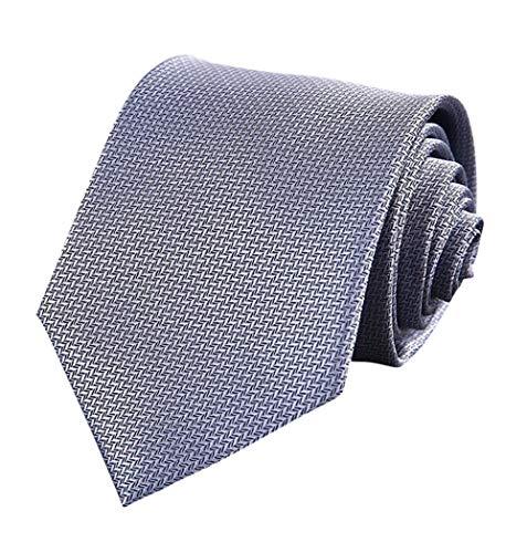 Men's Solid Color Grey Ties Silver Jacquard Woven Silk Necktie