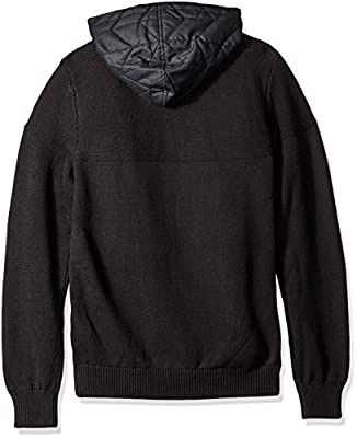 Calvin Klein Men's Quilted Herringbone Mixed Media Hoodie