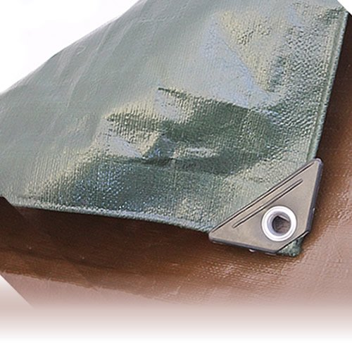 2M x 2M BROWN/GREEN HEAVY WATERPROOF TARPAULIN SHEET TARP COVER WITH EYELETS Gardener's Dream Ltd
