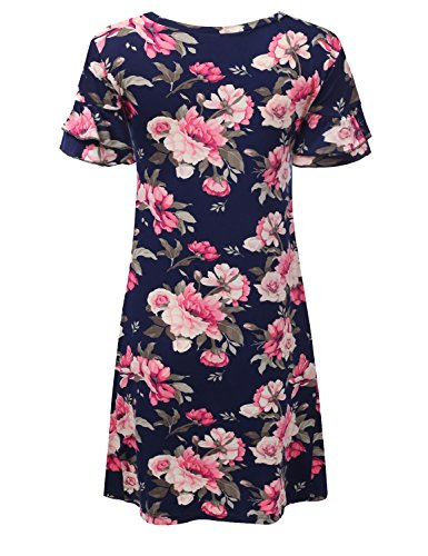 Loose Ruffle Fit Doublju navypink with Cwdsd0492 Womens Tunic Sleeve Dress Size Plus F6H5tw5qn