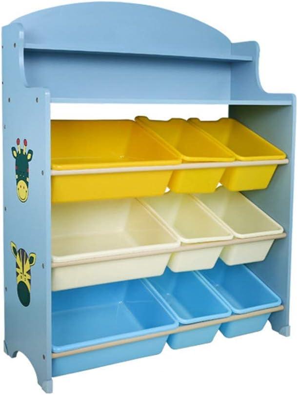 おもちゃラック 本棚の上の子供の楽しみカラフルなAAAグレードMDF本は子供の寝室の青い収納ラックを置きますおもちゃ子供の本などを表示します (Color : Blue, Size : 100x80x30cm)