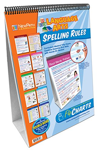 Spelling Rules Flip Chart Set (Grades 3 - 6) - 10 Laminated Write-On/Wipe-Off, Double-Sided Charts Mounted on Easel with Activity Guide