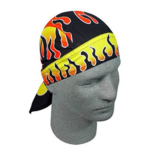 Reverse Orange Yellow Black Flames on Black Doo Rag Headwrap Skull Cap by ZIZI SPORTS SUPPLY