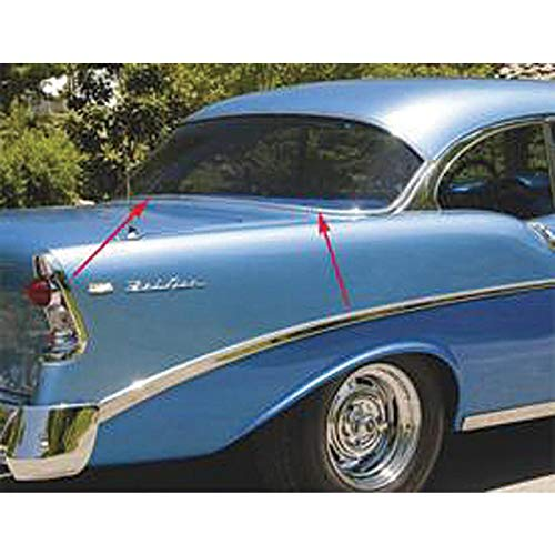 (Eckler's Premier Quality Products 57245201 Chevy Rear Glass Moldings Stainless Steel 2Door HardtopLower)