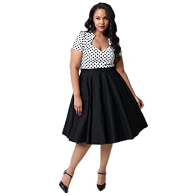MissNina Womens Plus Size 50s Vintage Classic Rockabilly Swing Dress (XL, Black)