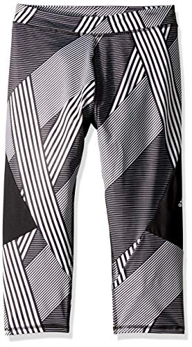 adidas Girls' Big Capri Legging, Alpha Stripe Print S (7/8) (Alpha Stripe)