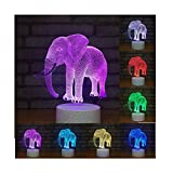 Erwa 3D Elephant Illusion LED Night Lamps, Night Lights For Children, Kids Room Decor 7 Colors Changing Touch Switch Table Desk Lighting Bedroom Home Decorations, For Boys, Girls, Teens,Touch