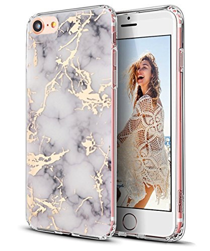 iPhone 7 Case,Spevert Marble Pattern Ultra-Thin Hybrid Hard Back Soft TPU Raised Edge Shock Absorption Slim Protective Case for iPhone 7 4.7 inches - White