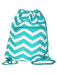 World Traveler 15 Inch Drawstring Backpack Bag, Light Blue Wh...