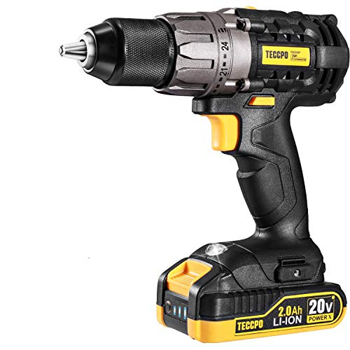 """Cordless Drill, 20V Drill Driver 2x2000mAh Batteries, 530 In-lbs Torque, 24+1 Torque Setting, 2-Variable Speed, 33pcs Accessories, 1/2"""" Metal Keyless Chuck, Fast Charger, Best Choice of Gift"""