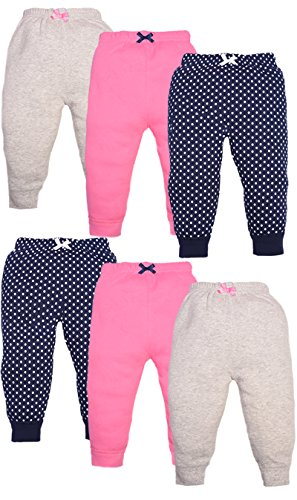 Luvable Friends Girls 6 Pack Tapered Ankle Pants, Navy Polka Dots, 3-6 Months