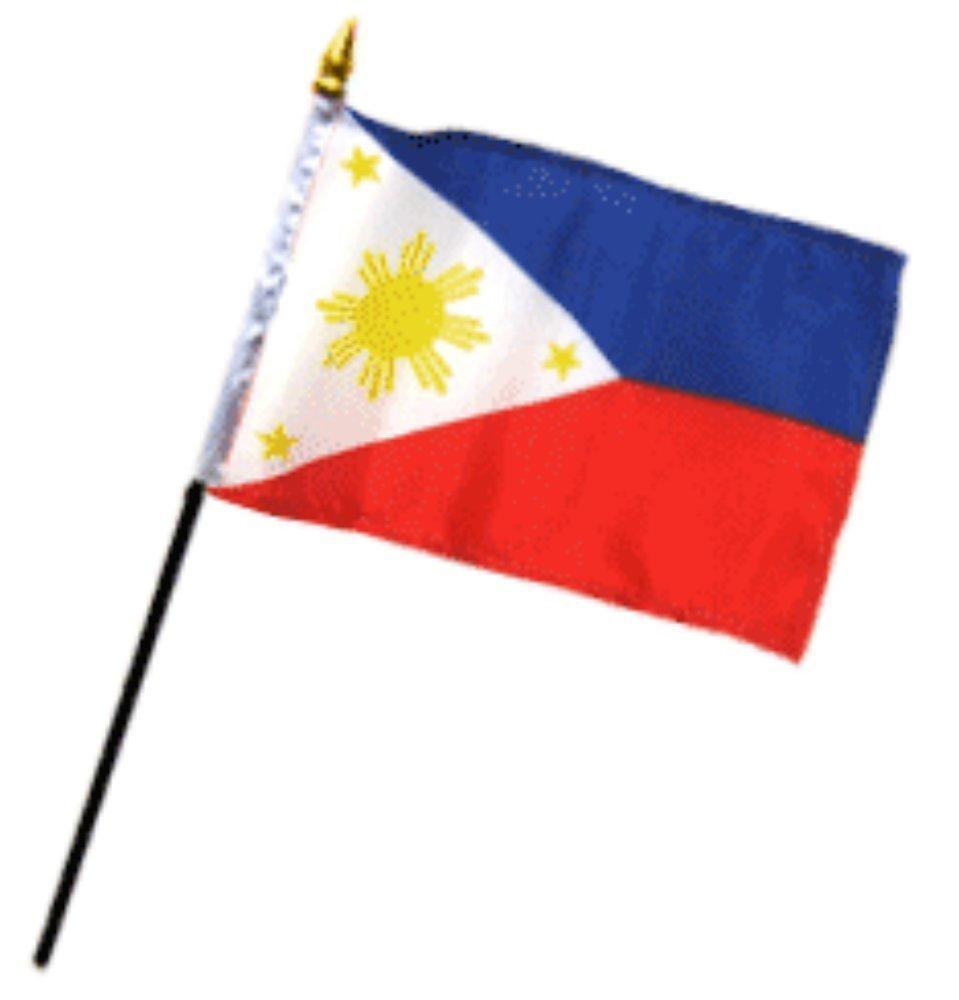 Philippines 4''x6'' Desk Stick Flag (No Base) (1 Flag)