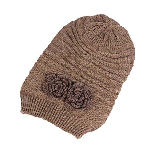 Price comparison product image SMYTShop Women Warm Oversized Chunky Soft Oversized Cable Knit Slouchy Beanie Cap Hat (Khaki)