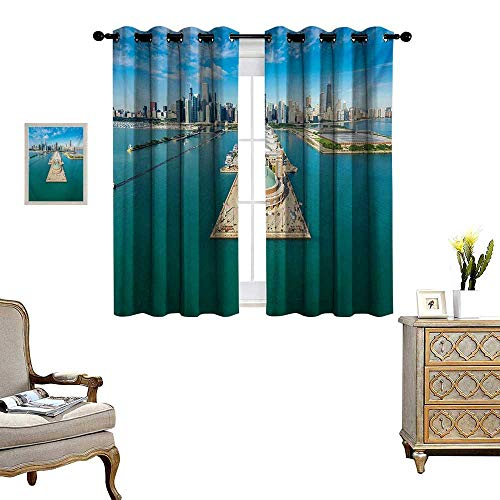 WinfreyDecor Chicago Skyline Thermal Insulating Blackout Curtain Aerial Panorama of Navy Pier Marine Metropolis Big City Silhouette View Patterned Drape for Glass Door W55 x L39 Multicolor -