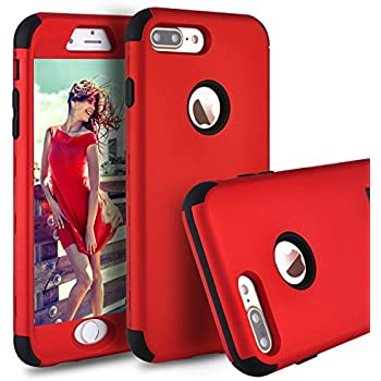 """iPhone 7 Plus Case,iPhone 8 Plus Case,Power J Three Layer Heavy Duty Shockproof High Impact Resistant Hybrid Protective Case for iPhone 7 Plus 5.5"""", … (Red)"""