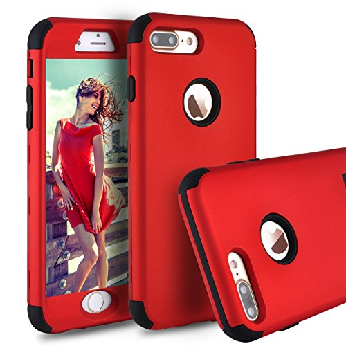 iPhone 7 Plus Case,iPhone 8 Plus Case,Power J Three Layer Heavy Duty Shockproof High Impact Resistant Hybrid Protective Case for iPhone 7 Plus 5.5, … (Red)