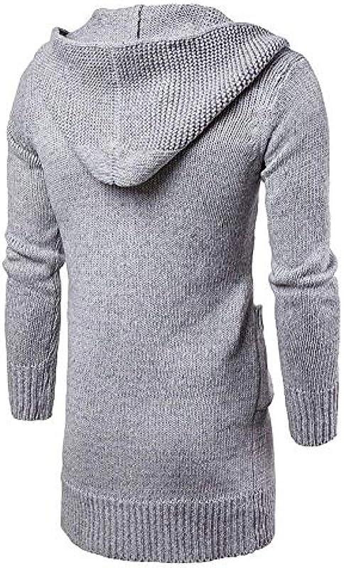 Męska kurtka z dzianiny Long Hooded Open odzież Edge Cardigan sweter z kapturem kurtka płaszcz dziany jednokolorowy długi rękaw kurtka z kapturem płaszcz z kapturem: Odzież