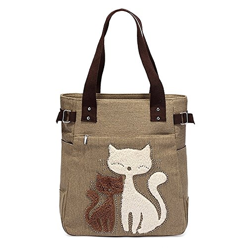Small Cat Shoulder Shopping Women's Cute Messenger women's r Bag With Handbag Toogoo Khaki Canvas qxgqvzP