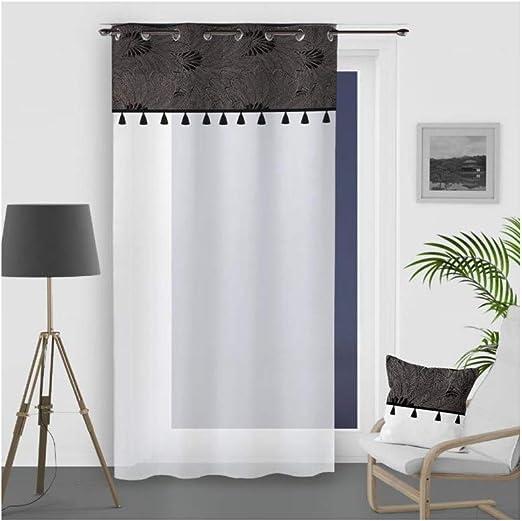 Soleil docre Oasis - Visillo (algodón, 140 x 250 cm), Color Negro: Amazon.es: Hogar