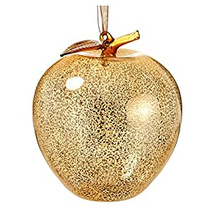 Christmas Tablescape Decor - Luxury Antique Gold Mercury Glass Apple Christmas Ornament - Set of 6