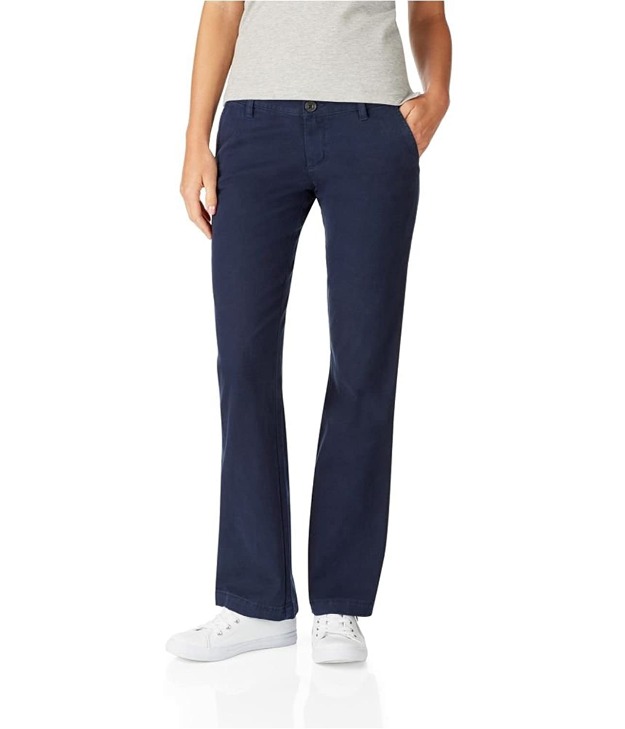 Aeropostale Womens Solid Low Rise Casual Chino Pants