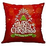 Pgojuni Linen Blend Christmas and Happy Year Throw Pillow Cover Decorative Cushion Cover Pillow Case1pc (45cm X 45cm) (E)