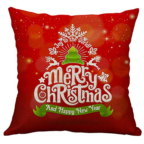 Pgojuni Linen Blend Christmas and Happy Year Throw Pillow Cover Decorative Cushion Cover Pillow Case1pc (45cm X 45cm) (E) by Pgojuni_Pillowcases (Image #1)