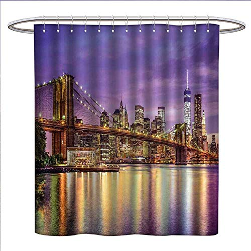 RenteriaDecor New York Shower Curtain Collection by NYC Exquisite Skyline Manhattan Broadway Old Neighborhood Tourist Country Print Patterned Shower Curtain W36 x L72 Purple ()