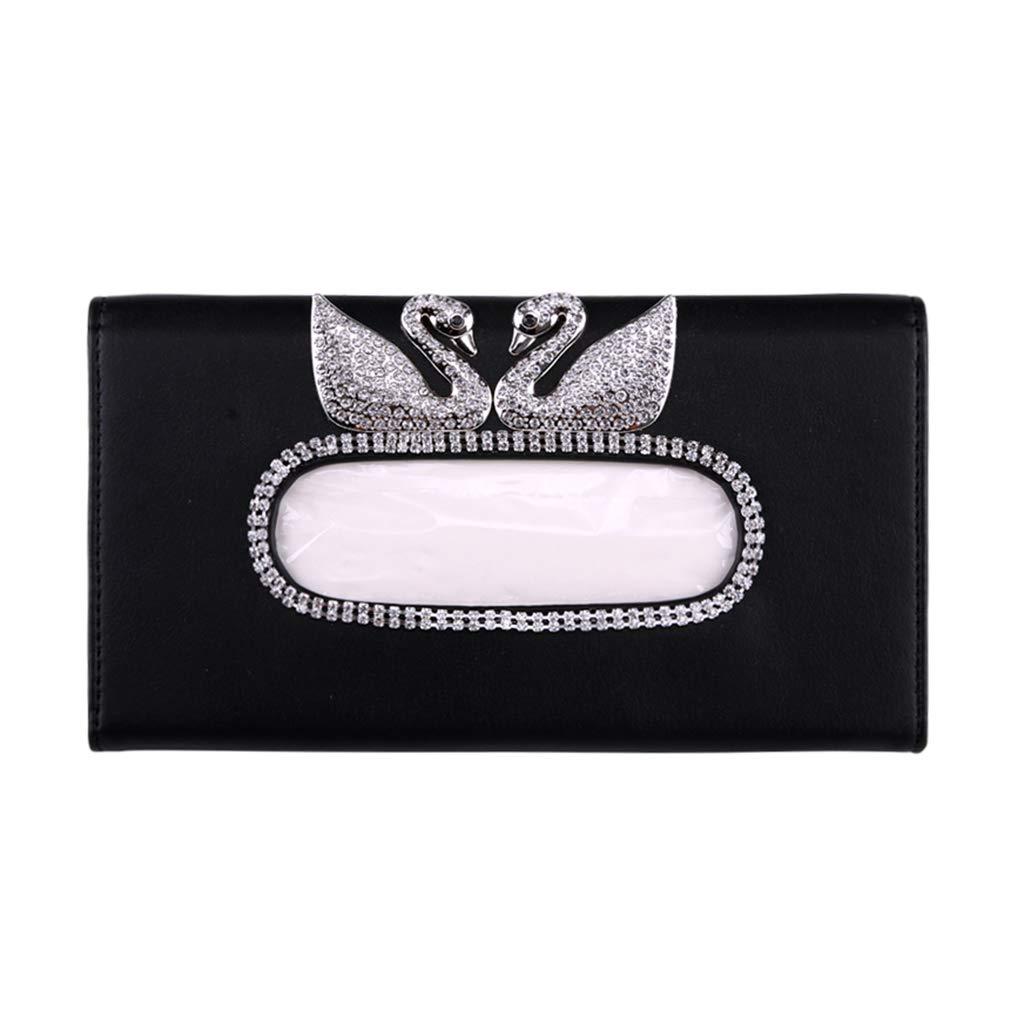 Black FancyAuto Car Sun Visor Tissue Box PU Leather Auto Accessories Tissue Clip Napkin Holder 4 Colors for Choose