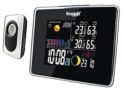 Wettervorhersage Temperatur 3 Displays froggit Funk Farb Wetterstation WS50 Triple Luftfeuchte 1 Funk Thermo-Hygrometer Au/ßensensor inkl Funkuhr