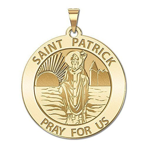 aint Patrick Religious Medal - 1 Inch Size of a Quarter in Solid 14K White Gold ()