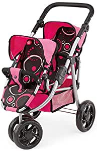bayer dolls pram twin circle design 3 wheeled. Black Bedroom Furniture Sets. Home Design Ideas