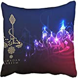 Throw Pillow Cover Square 18x18 Inches Greeting Kareem Beautiful with Arabic Calligraphy Which Means Ramadan Eid Mubarak Fitr Arabian Polyester Decor Hidden Zipper Print On Pillowcases