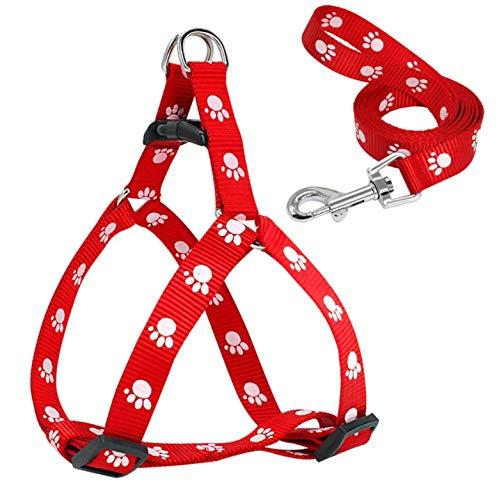 Red Paw Print Arnés y Correa para Perros pequeños Nylon Suave para ...