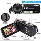 Camera Camcorders, Besteker Portable 1080P 24MP 16X Digital Zoom Video Camcorder with 2.7